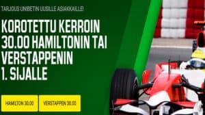 Hamilton vai Verstappen ? - Valitse kuski ja lyö veto korotetulla 30.00 kertoimella